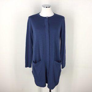J Jill Blue Long Cardigan sweater Duster Wool S